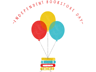 Independent Bookstore Day Logo with balloons & books